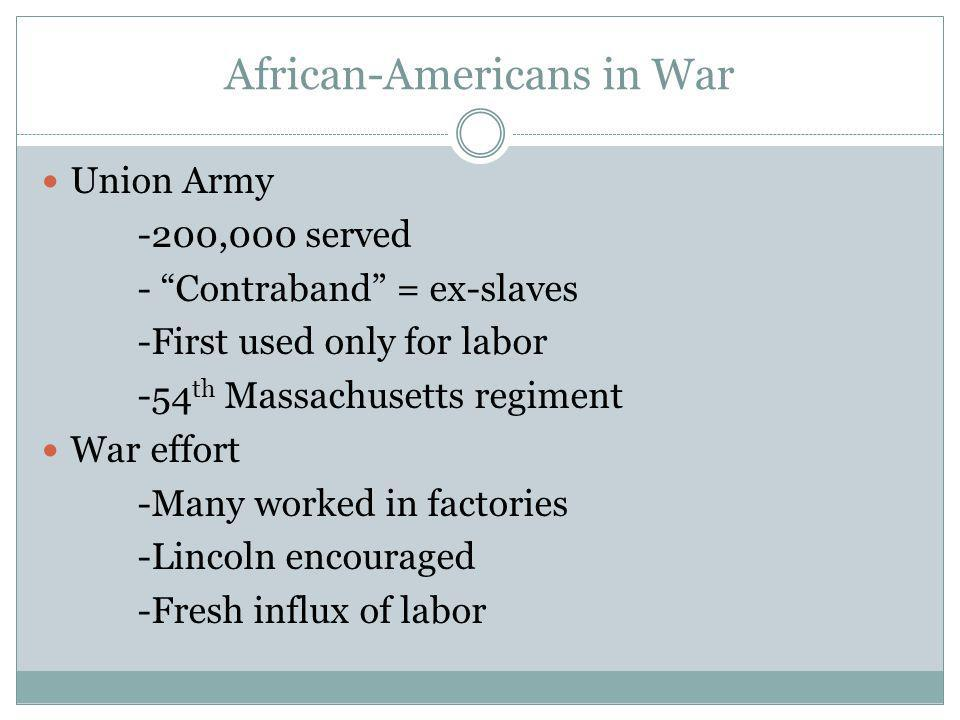 African-Americans in War Union Army -200,000 served - Contraband = ex-slaves -First used only for labor -54 th Massachusetts regiment War effort -Many worked in factories -Lincoln encouraged -Fresh influx of labor