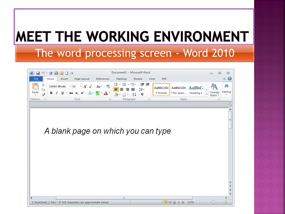 A blank page on which you can type The word processing screen - Word 2010