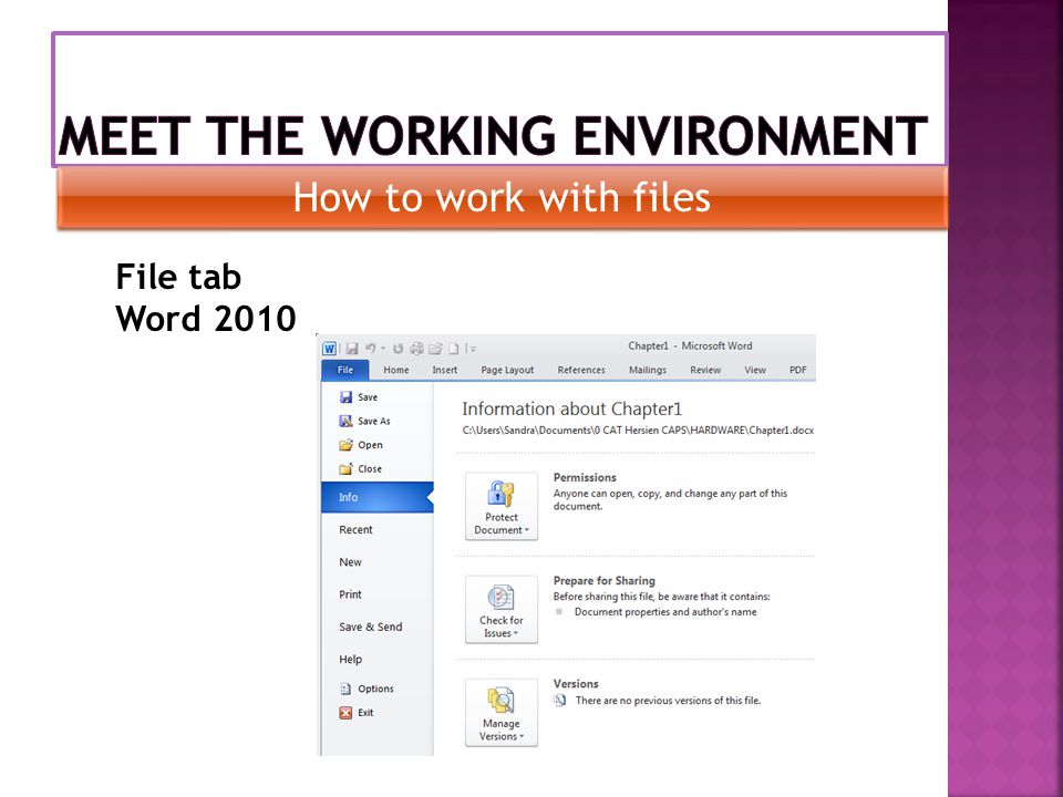 How to work with files File tab Word 2010