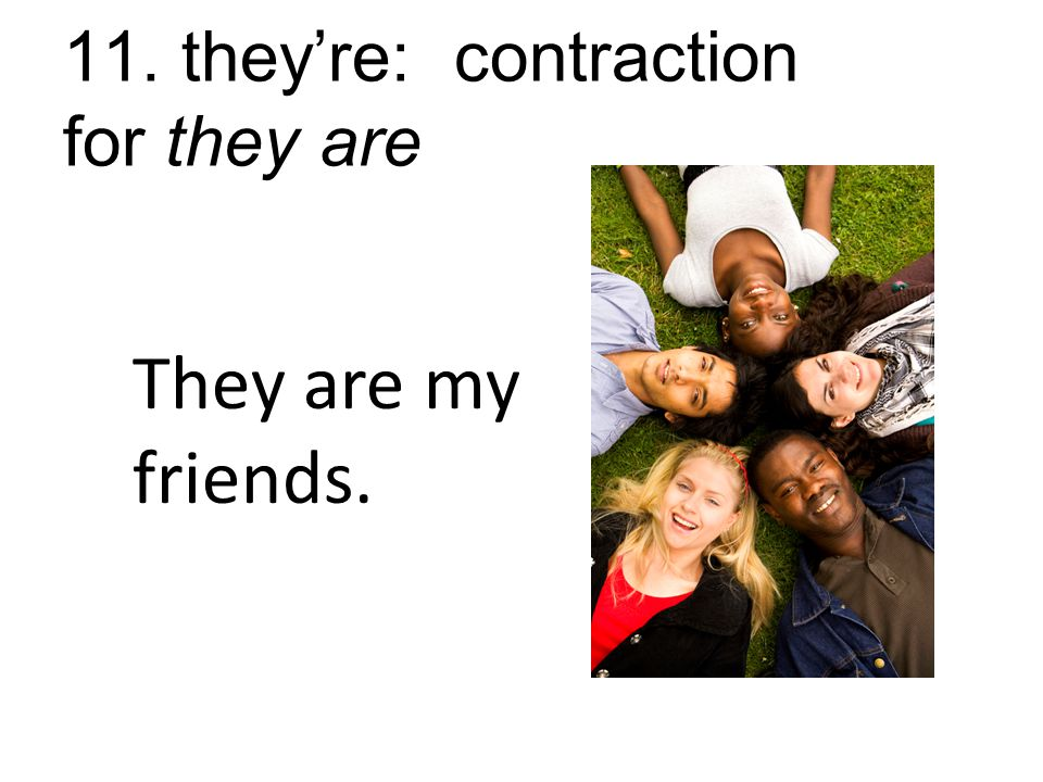 11. they're: contraction for they are They are my friends.