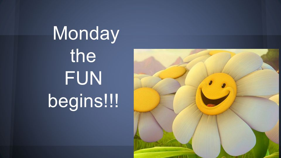 Monday the FUN begins!!!