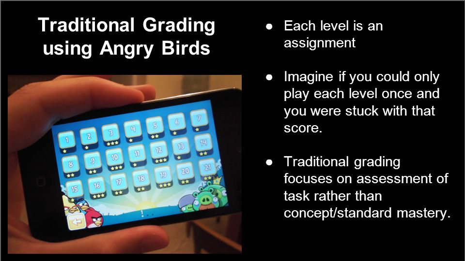 Traditional Grading using Angry Birds ●Each level is an assignment ●Imagine if you could only play each level once and you were stuck with that score.