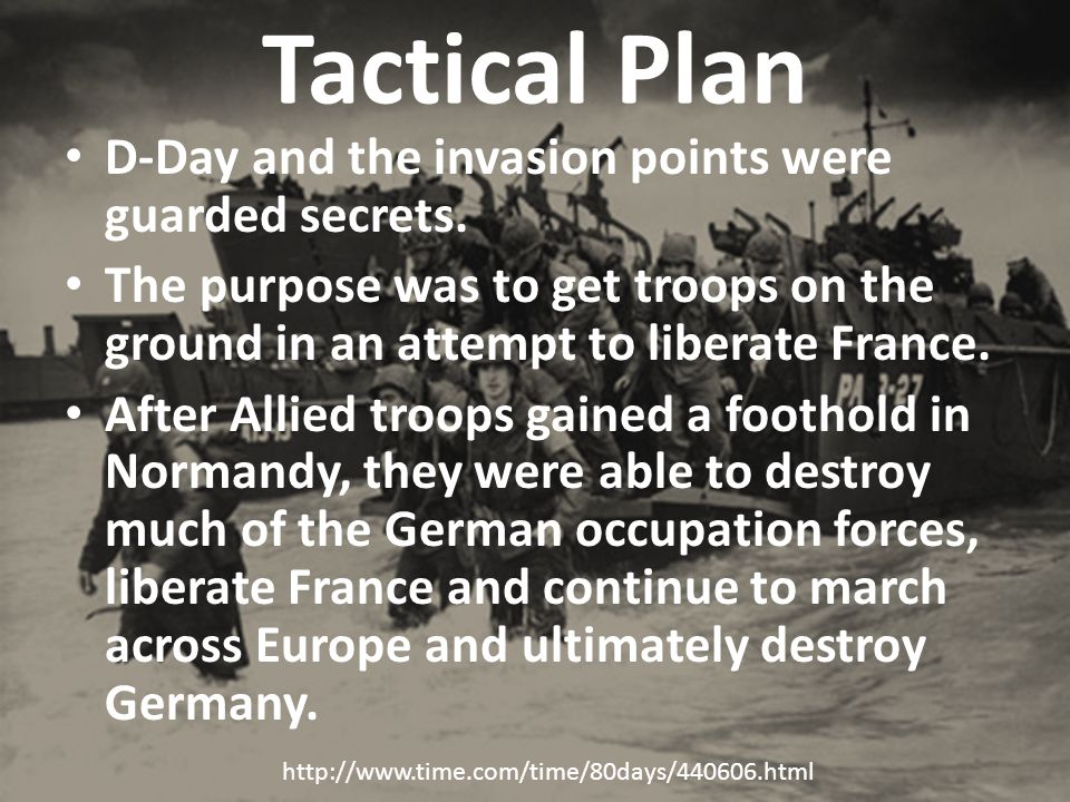 Tactical Plan D-Day and the invasion points were guarded secrets.