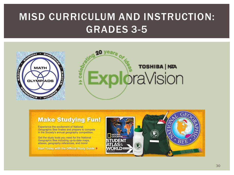 MISD CURRICULUM AND INSTRUCTION: GRADES 3-5 30