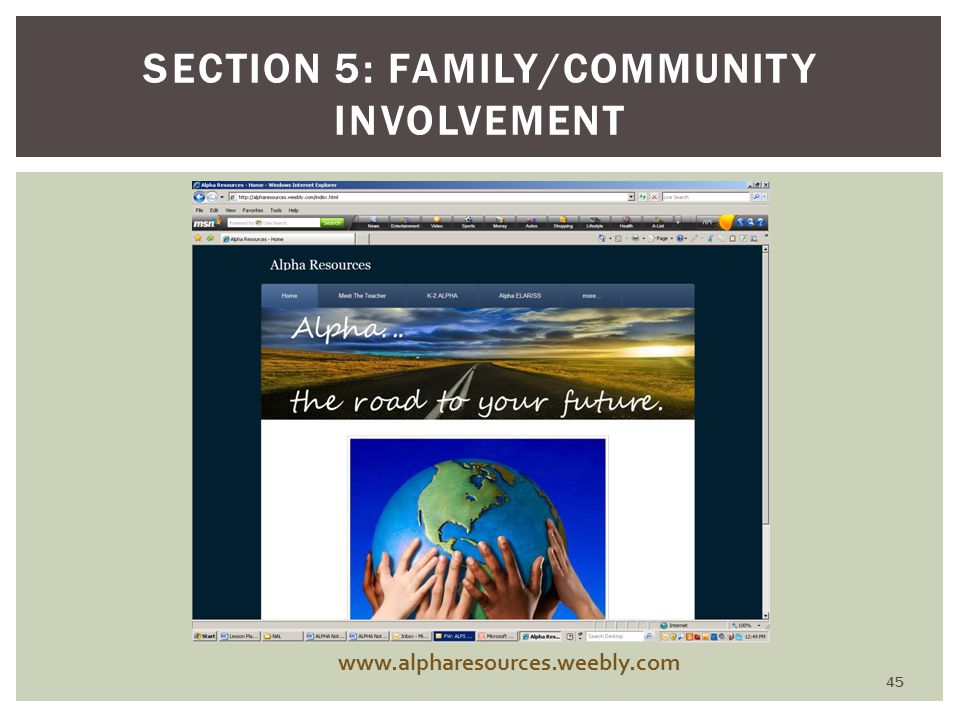 SECTION 5: FAMILY/COMMUNITY INVOLVEMENT www.alpharesources.weebly.com 45