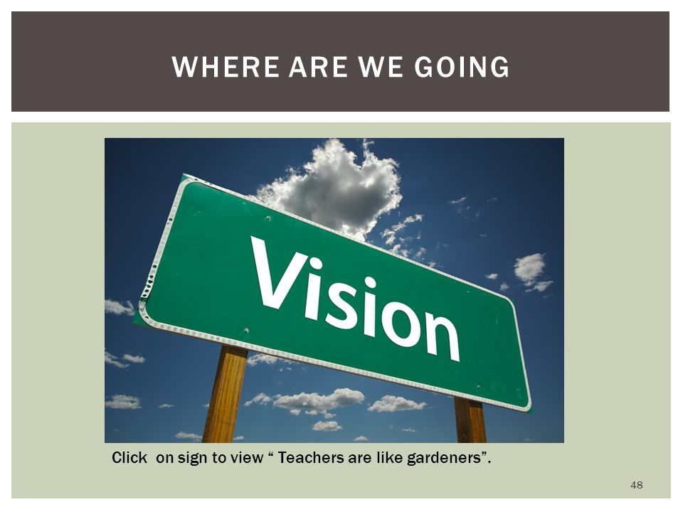 WHERE ARE WE GOING Click on sign to view Teachers are like gardeners . 48