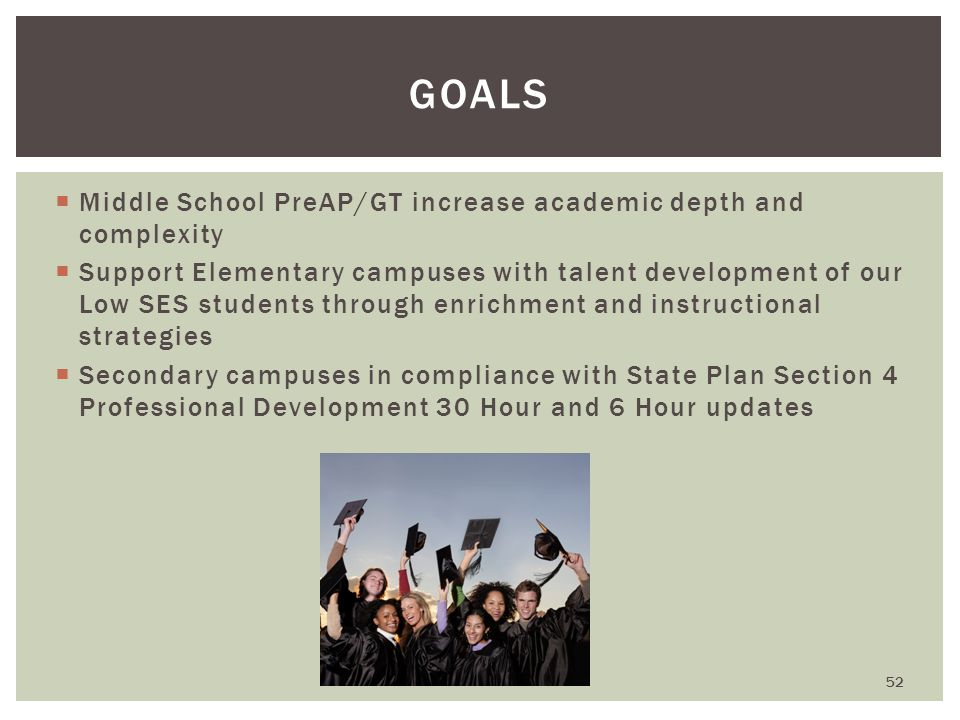  Middle School PreAP/GT increase academic depth and complexity  Support Elementary campuses with talent development of our Low SES students through enrichment and instructional strategies  Secondary campuses in compliance with State Plan Section 4 Professional Development 30 Hour and 6 Hour updates GOALS 52
