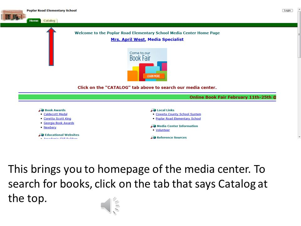 Our homepage should appear. Next click on the tab that says Media Center.