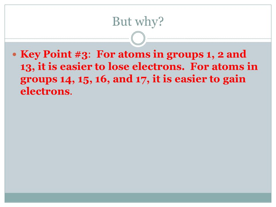 Key Point #2: Copy the chart on the board This chart is an easy reference to see what type of ion an element will form