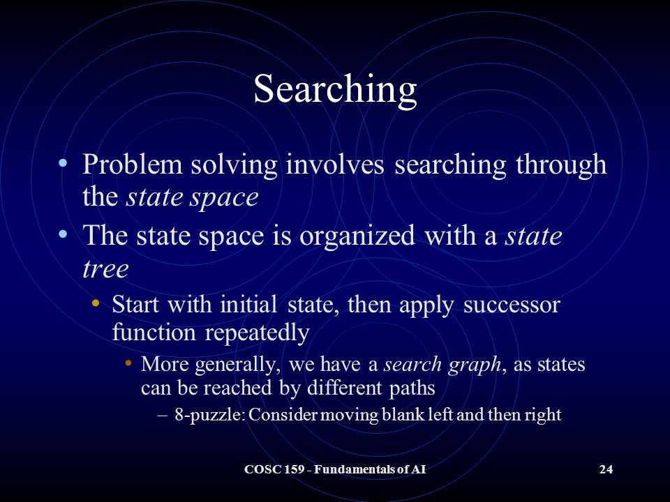 COSC 159 - Fundamentals of AI24 Searching Problem solving involves searching through the state space The state space is organized with a state tree Start with initial state, then apply successor function repeatedly More generally, we have a search graph, as states can be reached by different paths –8-puzzle: Consider moving blank left and then right