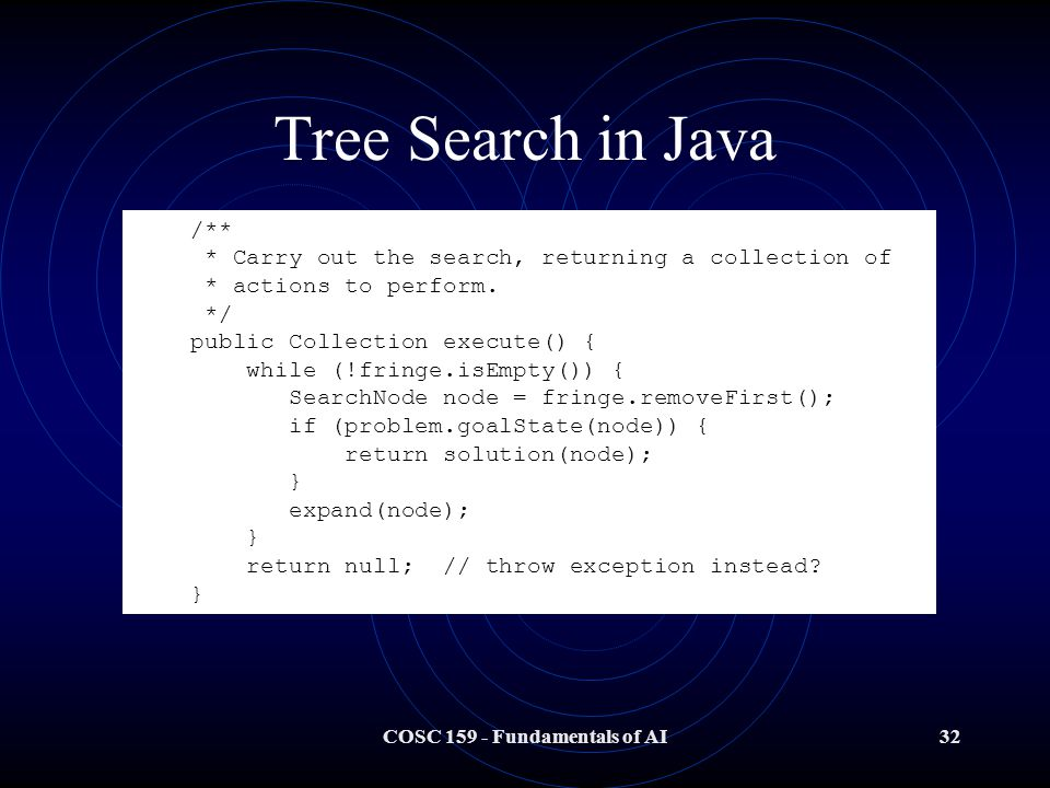 COSC 159 - Fundamentals of AI32 Tree Search in Java /** * Carry out the search, returning a collection of * actions to perform.