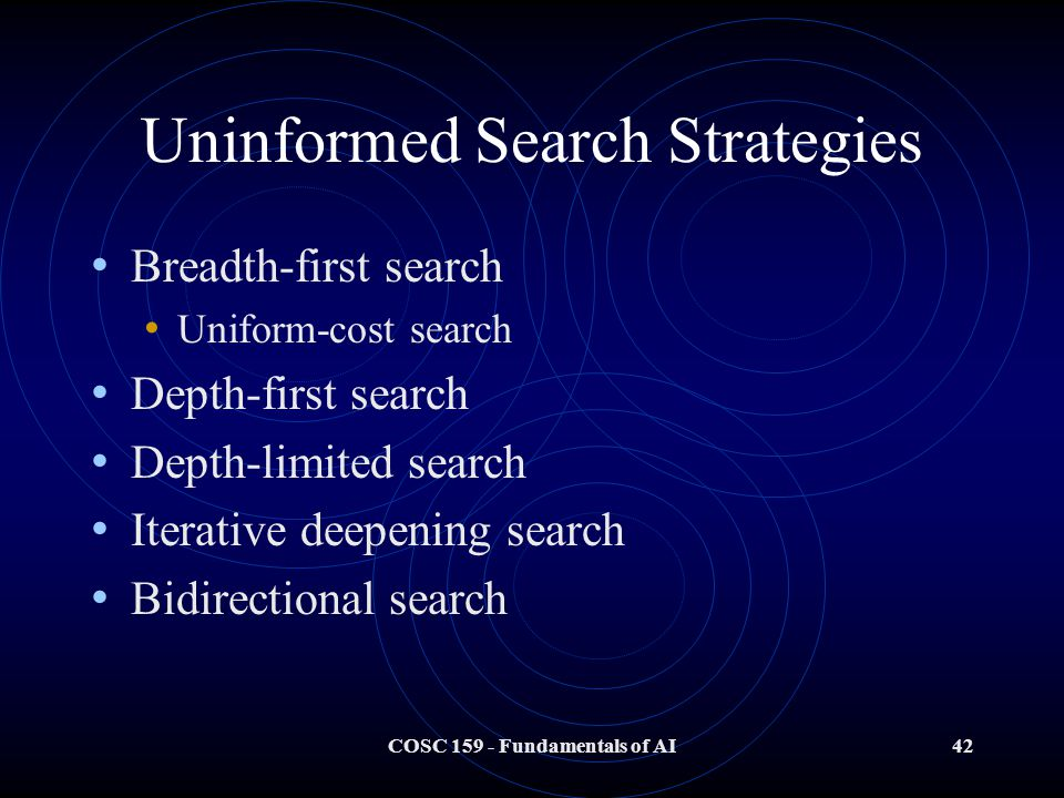 COSC 159 - Fundamentals of AI42 Uninformed Search Strategies Breadth-first search Uniform-cost search Depth-first search Depth-limited search Iterative deepening search Bidirectional search