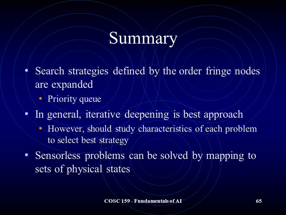 COSC 159 - Fundamentals of AI65 Summary Search strategies defined by the order fringe nodes are expanded Priority queue In general, iterative deepening is best approach However, should study characteristics of each problem to select best strategy Sensorless problems can be solved by mapping to sets of physical states