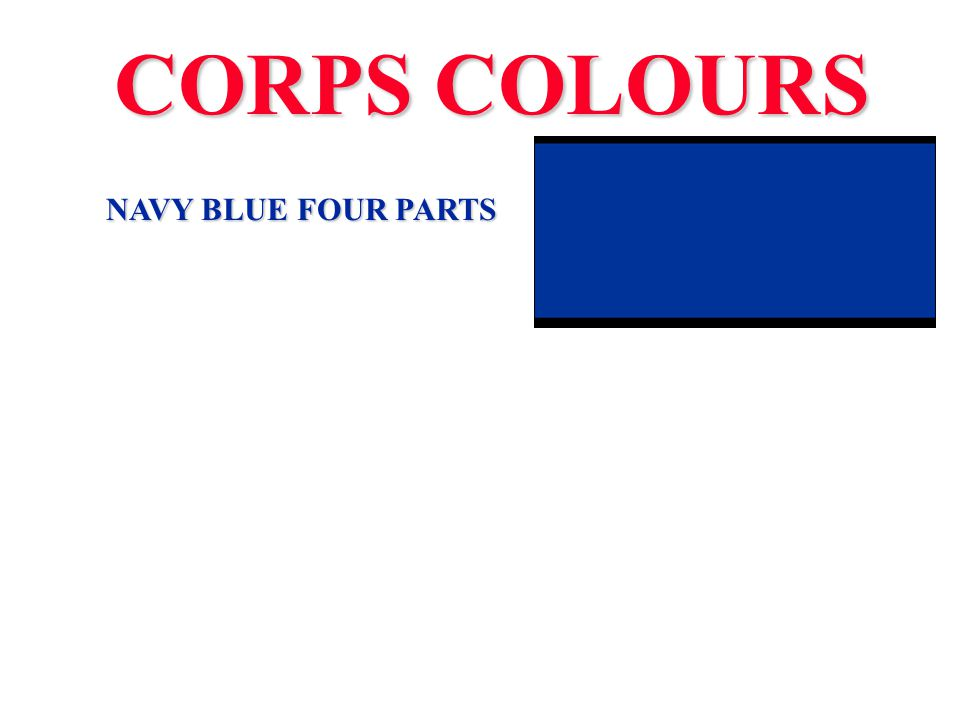 CORPS COLOURS NAVY BLUE FOUR PARTS OLD GOLD ONE PART GREEN ONE PART DRUMMER RED 2 PARTS DARK BLUE FOUR PARTS