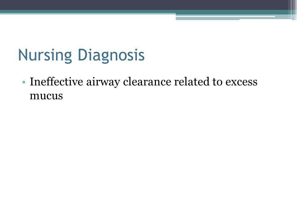 Nursing Diagnosis Ineffective airway clearance related to excess mucus