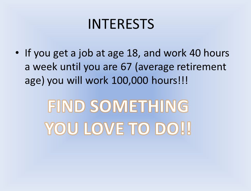 INTERESTS If you get a job at age 18, and work 40 hours a week until you are 67 (average retirement age) you will work 100,000 hours!!!