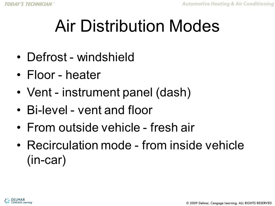 Air Distribution Modes Defrost - windshield Floor - heater Vent - instrument panel (dash) Bi-level - vent and floor From outside vehicle - fresh air Recirculation mode - from inside vehicle (in-car)