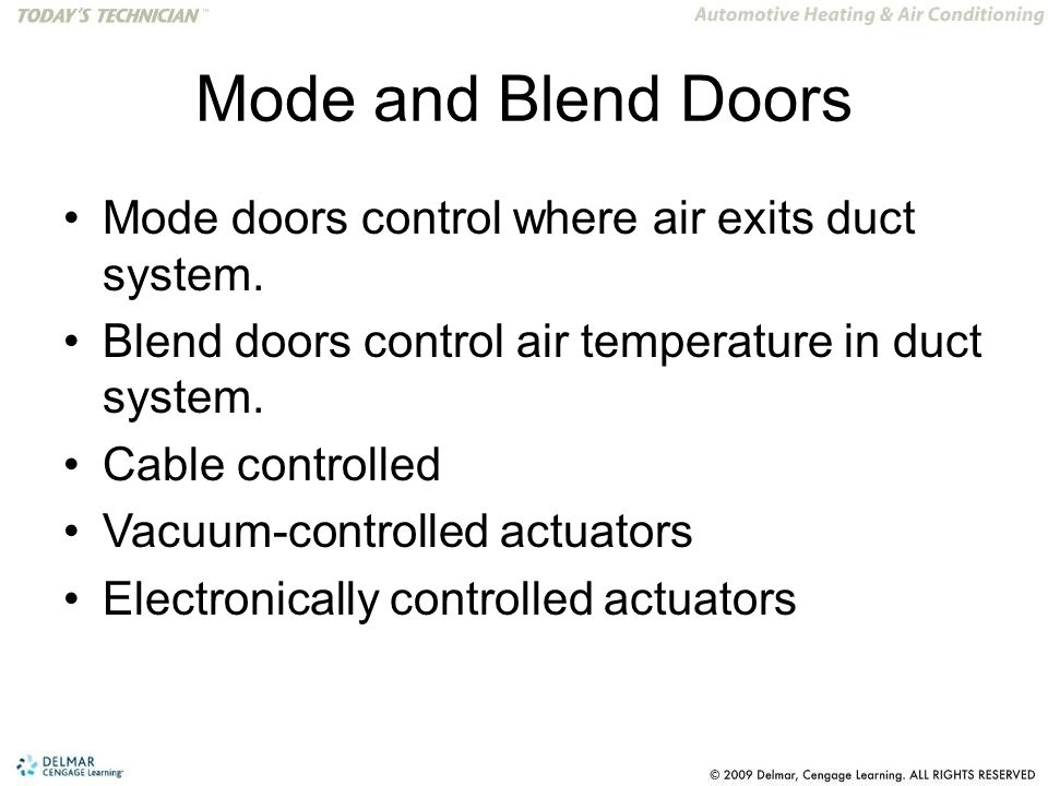 Mode and Blend Doors Mode doors control where air exits duct system.