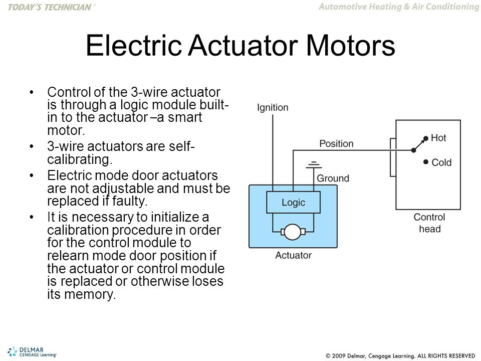Electric Actuator Motors Control of the 3-wire actuator is through a logic module built- in to the actuator – a smart motor.