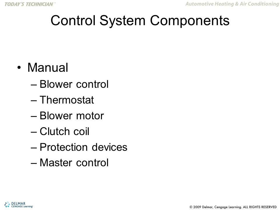 Control System Components Manual –Blower control –Thermostat –Blower motor –Clutch coil –Protection devices –Master control