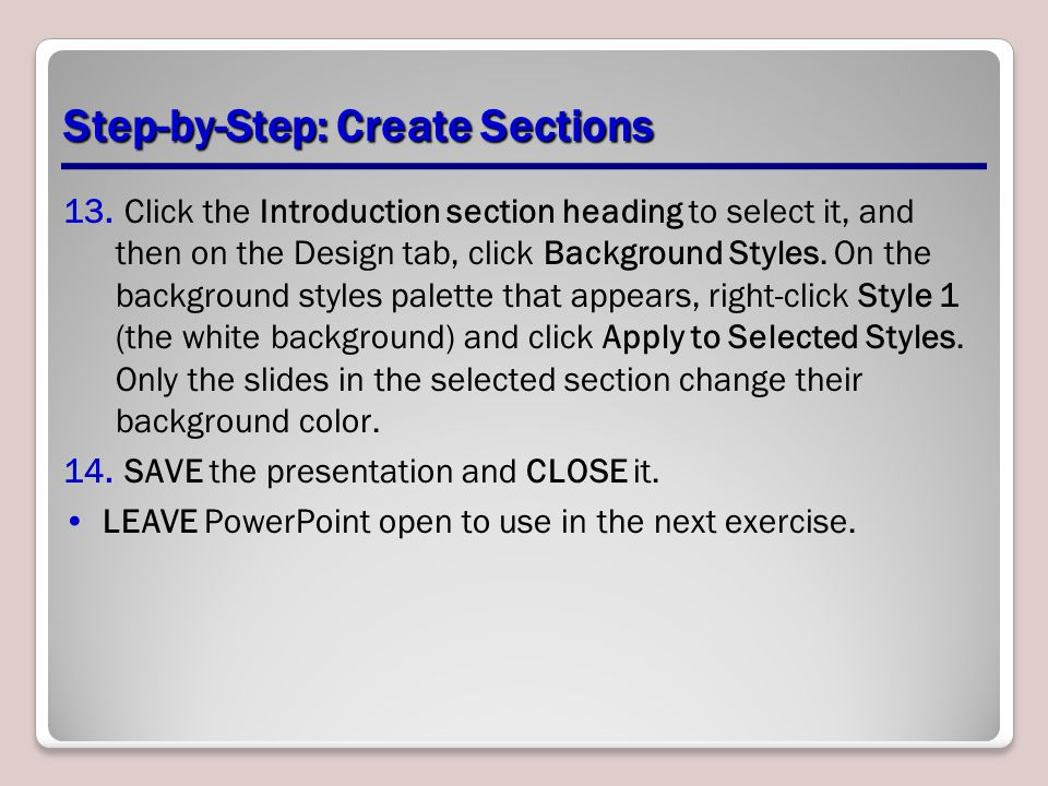 Step-by-Step: Create Sections 13.