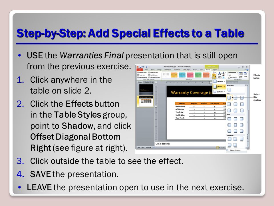 Step-by-Step: Add Special Effects to a Table USE the Warranties Final presentation that is still open from the previous exercise.