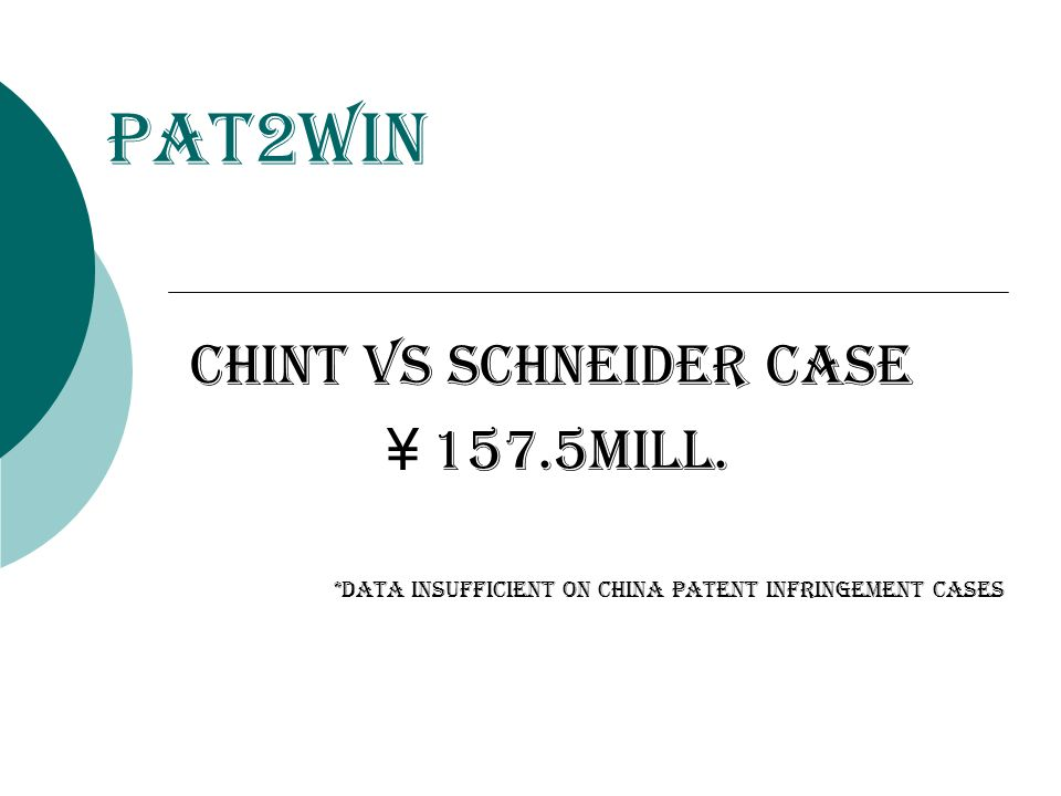 Chint vs schneider case ¥ 157.5mill. *Data insufficient on china patent infringement cases