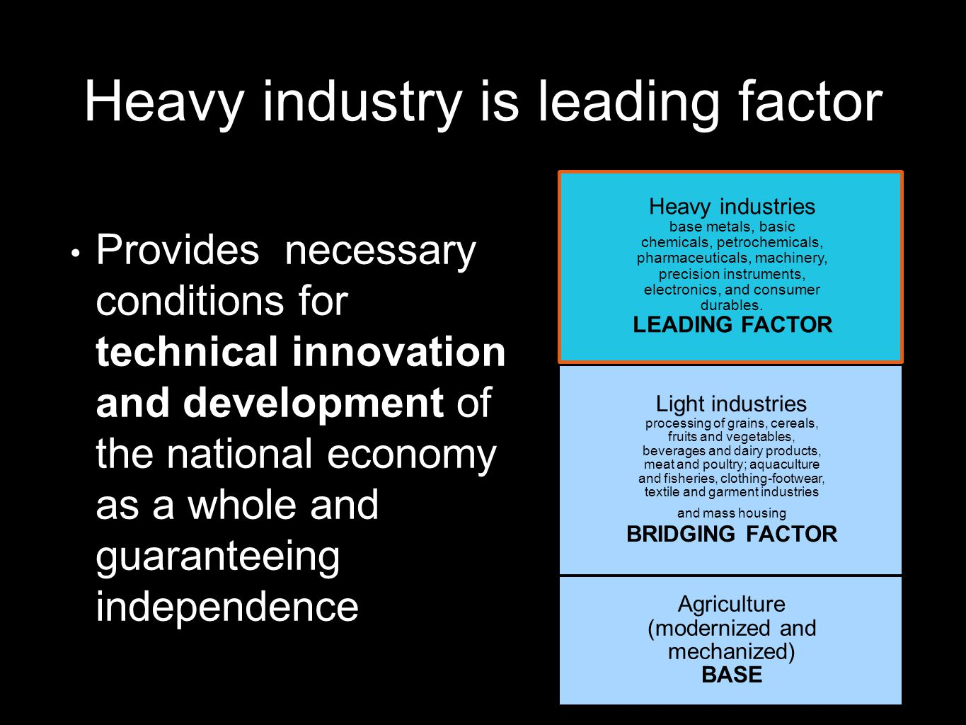 Heavy industry is leading factor Provides necessary conditions for technical innovation and development of the national economy as a whole and guaranteeing independence Heavy industries base metals, basic chemicals, petrochemicals, pharmaceuticals, machinery, precision instruments, electronics, and consumer durables.