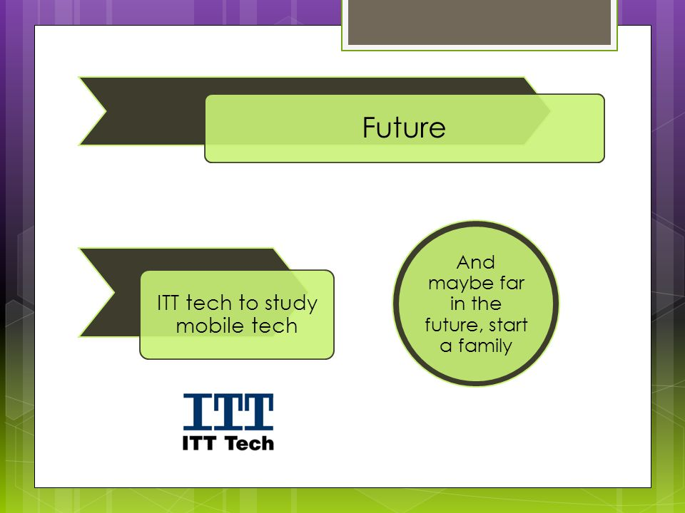 Future ITT tech to study mobile tech And maybe far in the future, start a family