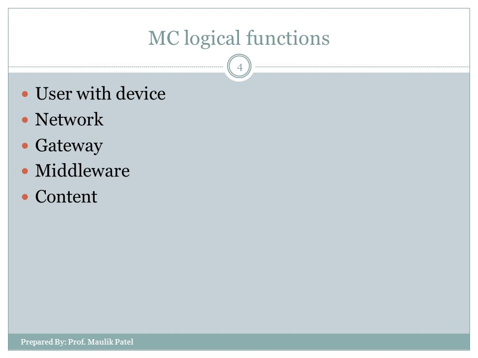 MC logical functions User with device Network Gateway Middleware Content 4 Prepared By: Prof.