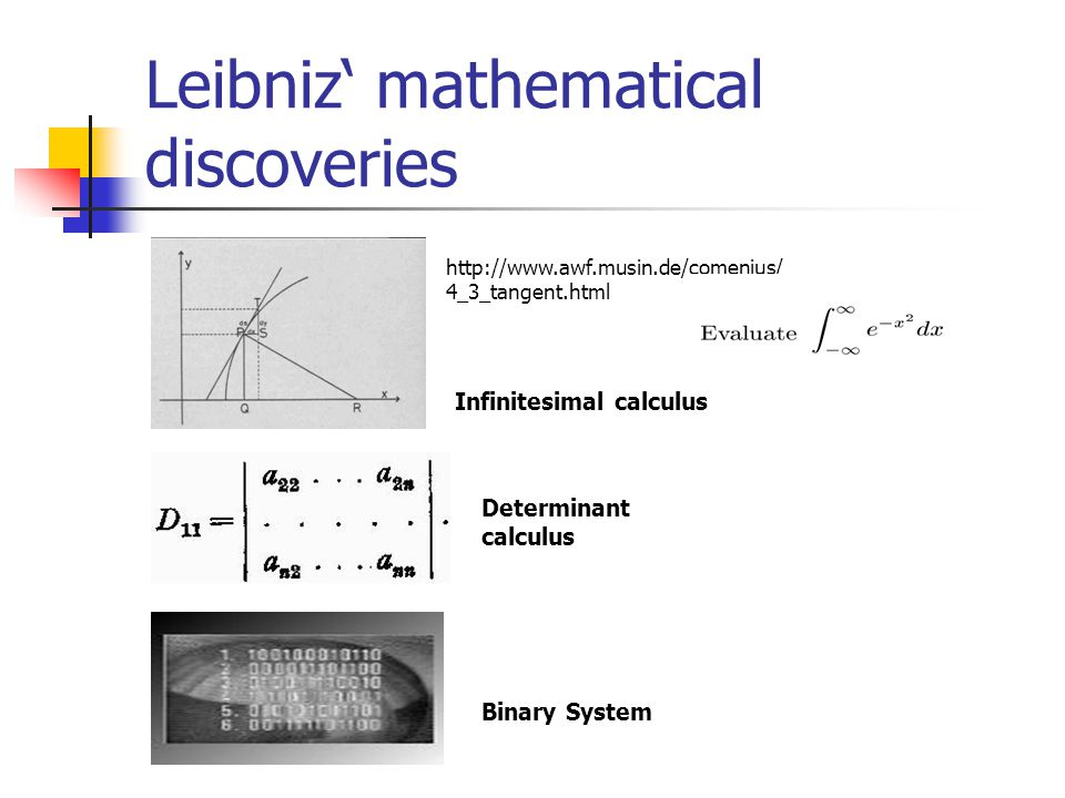 Leibniz' mathematical discoveries http://www.awf.musin.de/comenius/ 4_3_tangent.html Infinitesimal calculus Determinant calculus Binary System