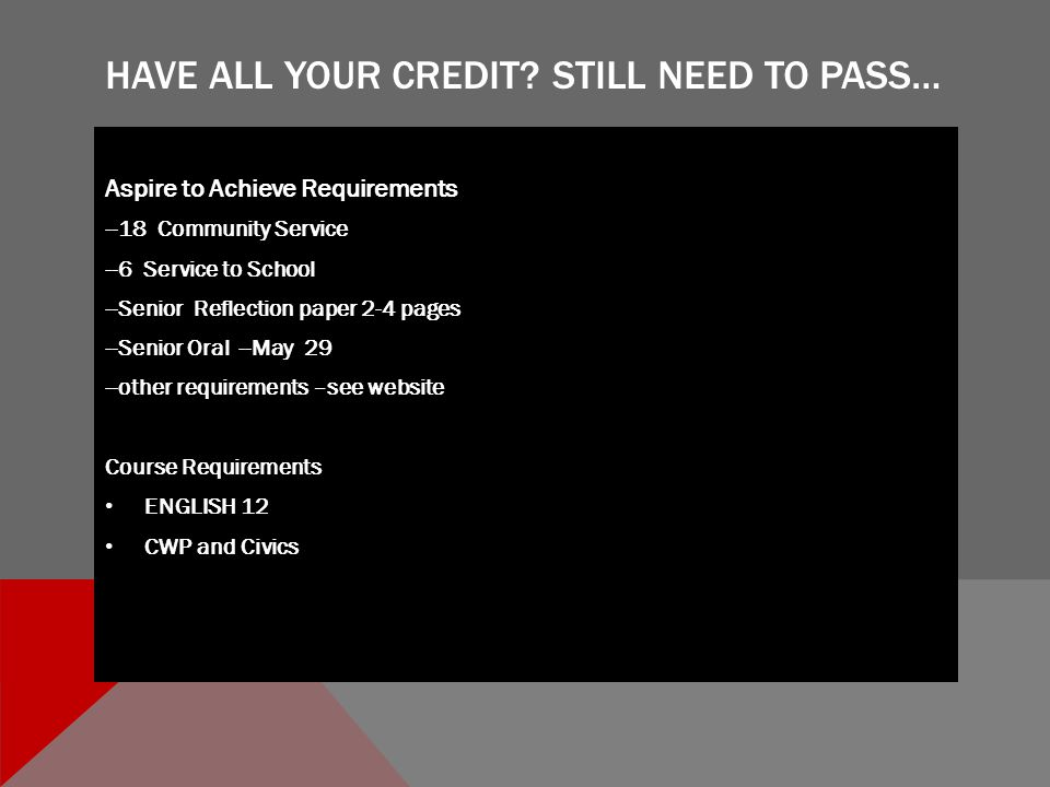 HAVE ALL YOUR CREDIT.