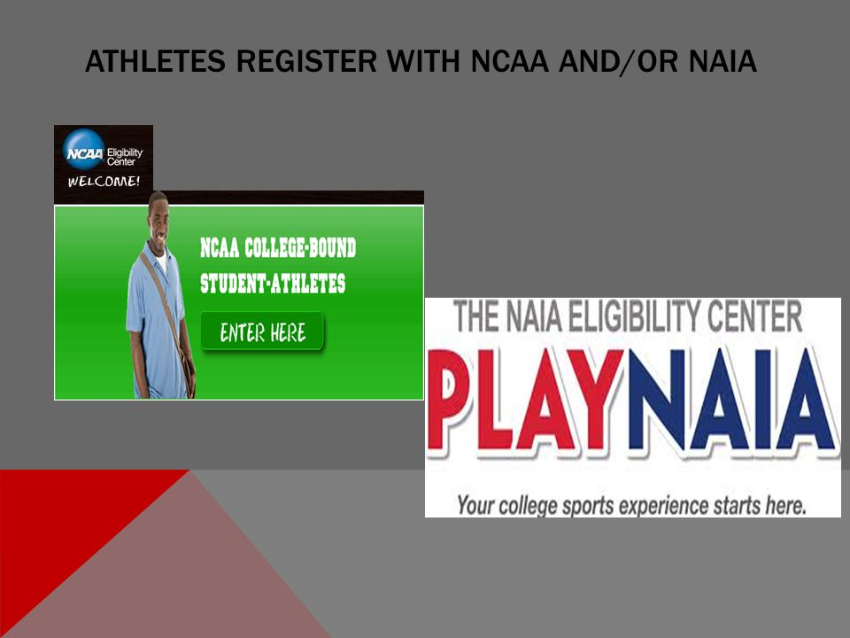 ATHLETES REGISTER WITH NCAA AND/OR NAIA
