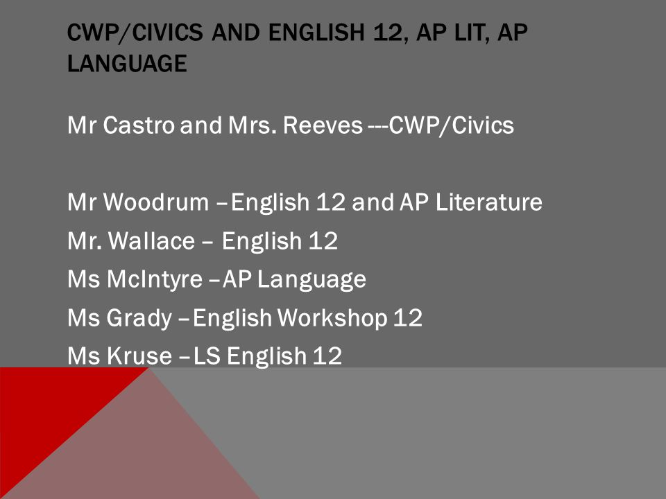 CWP/CIVICS AND ENGLISH 12, AP LIT, AP LANGUAGE Mr Castro and Mrs.