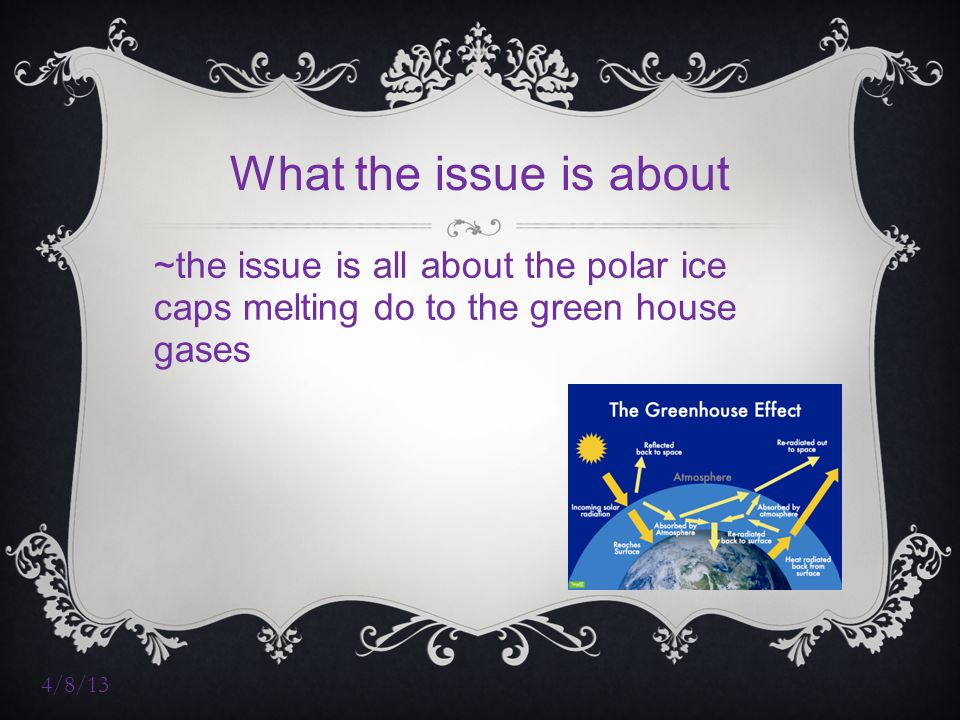4/8/13 What the issue is about ~the issue is all about the polar ice caps melting do to the green house gases