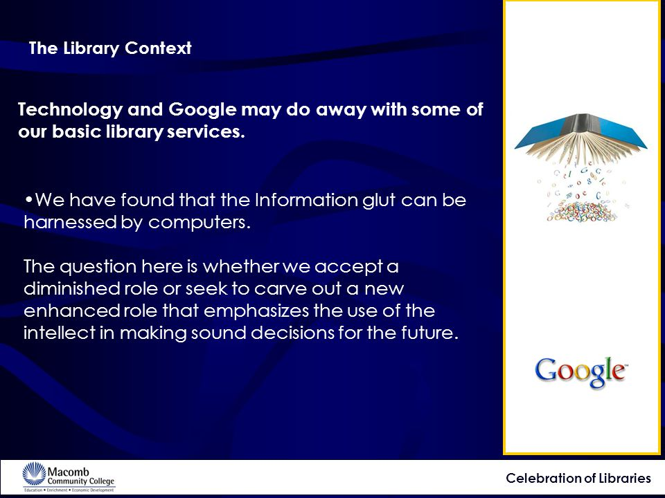 Technology and Google may do away with some of our basic library services.