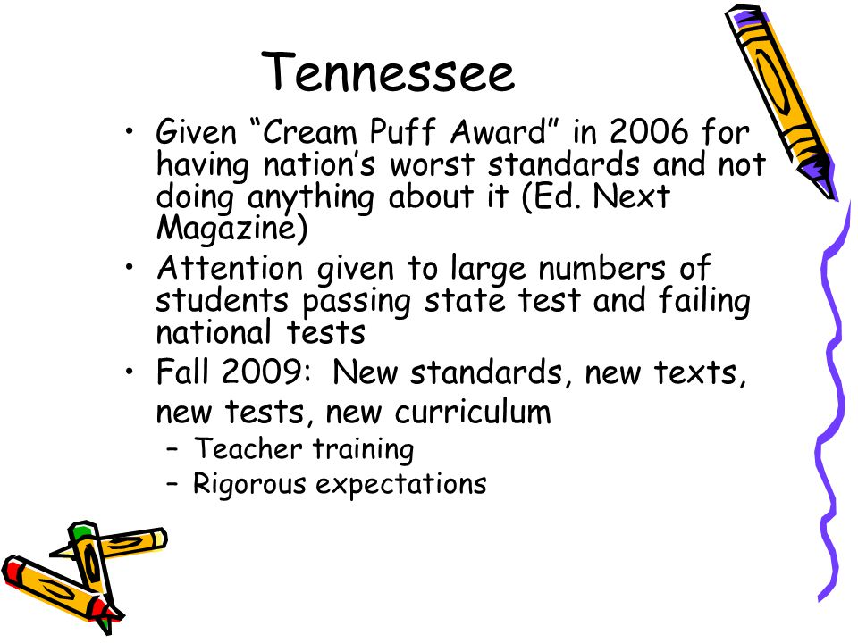 Tennessee Given Cream Puff Award in 2006 for having nation's worst standards and not doing anything about it (Ed.