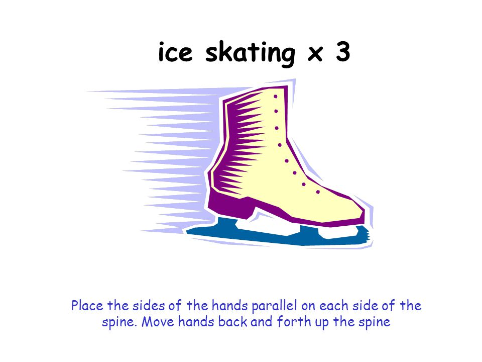 ice skating x 3 Place the sides of the hands parallel on each side of the spine.