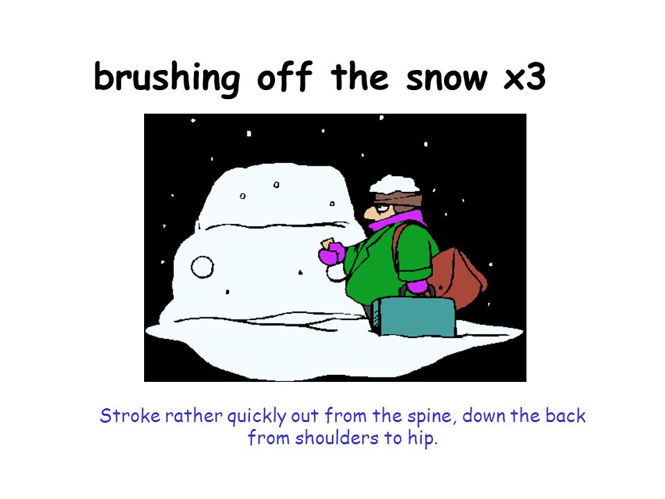 brushing off the snow x3 Stroke rather quickly out from the spine, down the back from shoulders to hip.