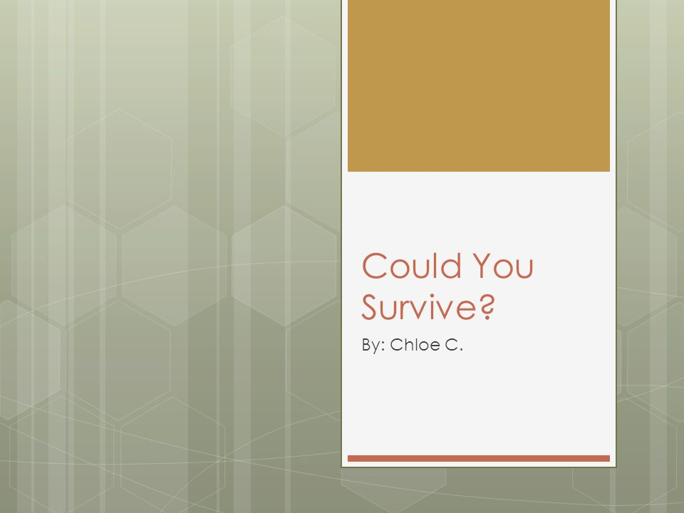 Could You Survive By: Chloe C.