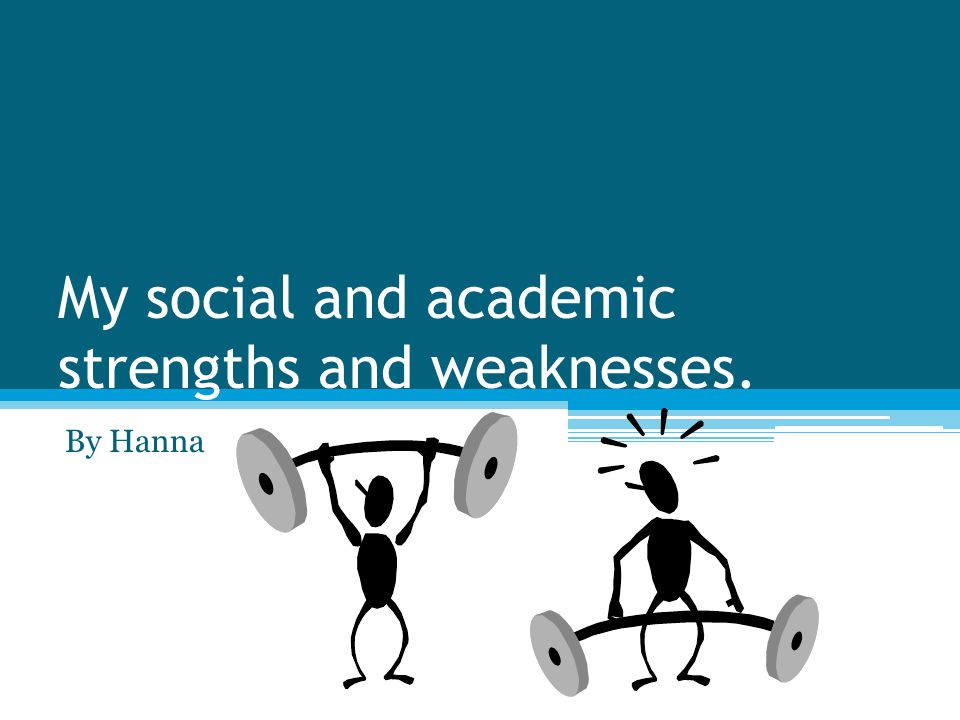My social and academic strengths and weaknesses. By Hanna