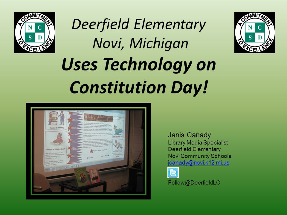 Deerfield Elementary Novi, Michigan Uses Technology on Constitution Day.
