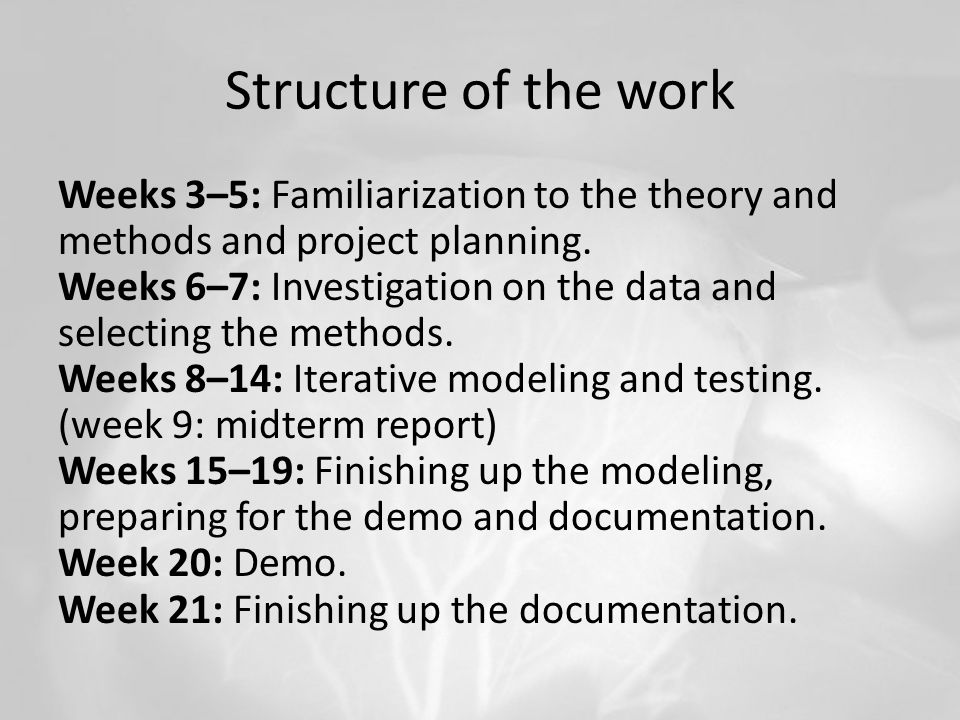 Structure of the work Weeks 3–5: Familiarization to the theory and methods and project planning.