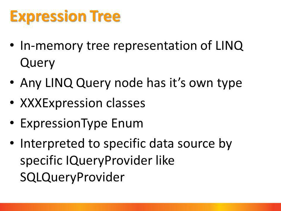 Expression Tree In-memory tree representation of LINQ Query Any LINQ Query node has it's own type XXXExpression classes ExpressionType Enum Interpreted to specific data source by specific IQueryProvider like SQLQueryProvider
