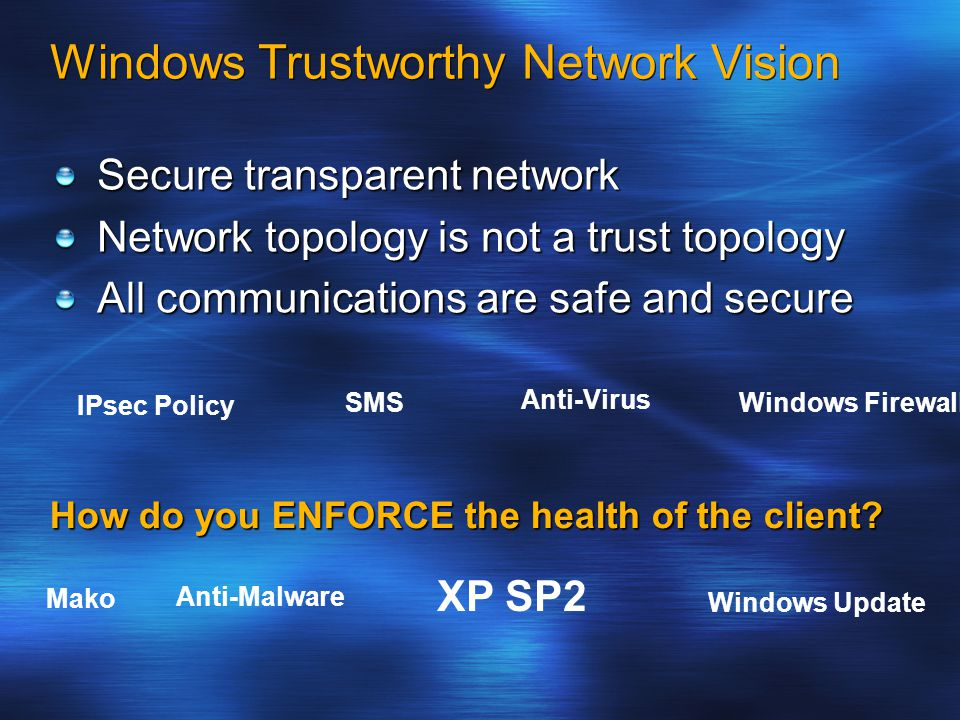 Windows Trustworthy Network Vision Secure transparent network Network topology is not a trust topology All communications are safe and secure IPsec Policy Windows Firewall Mako Anti-Malware Anti-Virus Windows Update XP SP2 SMS How do you ENFORCE the health of the client