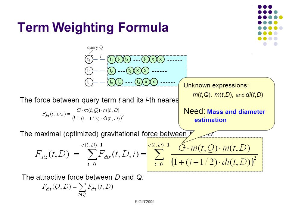 SIGIR'2005 Term Weighting Formula The maximal (optimized) gravitational force between t and D: The force between query term t and its i-th nearest occurrence in D: The attractive force between D and Q: Unknown expressions: m(t,Q), m(t,D), and di(t,D) Need: Mass and diameter estimation