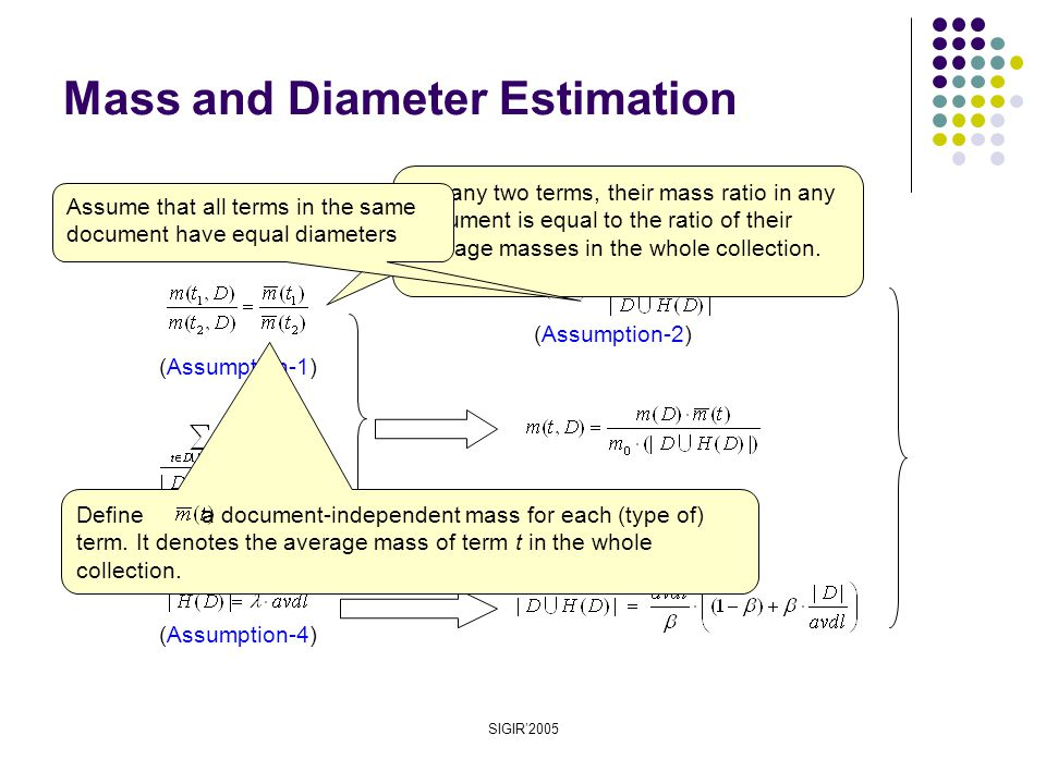 SIGIR'2005 (Assumption-3) Mass and Diameter Estimation (Assumption-1) (Assumption-2) (Assumption-4) For any two terms, their mass ratio in any document is equal to the ratio of their average masses in the whole collection.