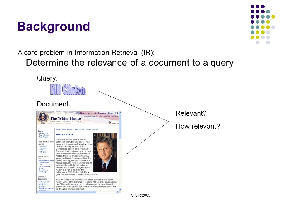 SIGIR'2005 Background Document: Query: A core problem in Information Retrieval (IR): Determine the relevance of a document to a query Relevant.