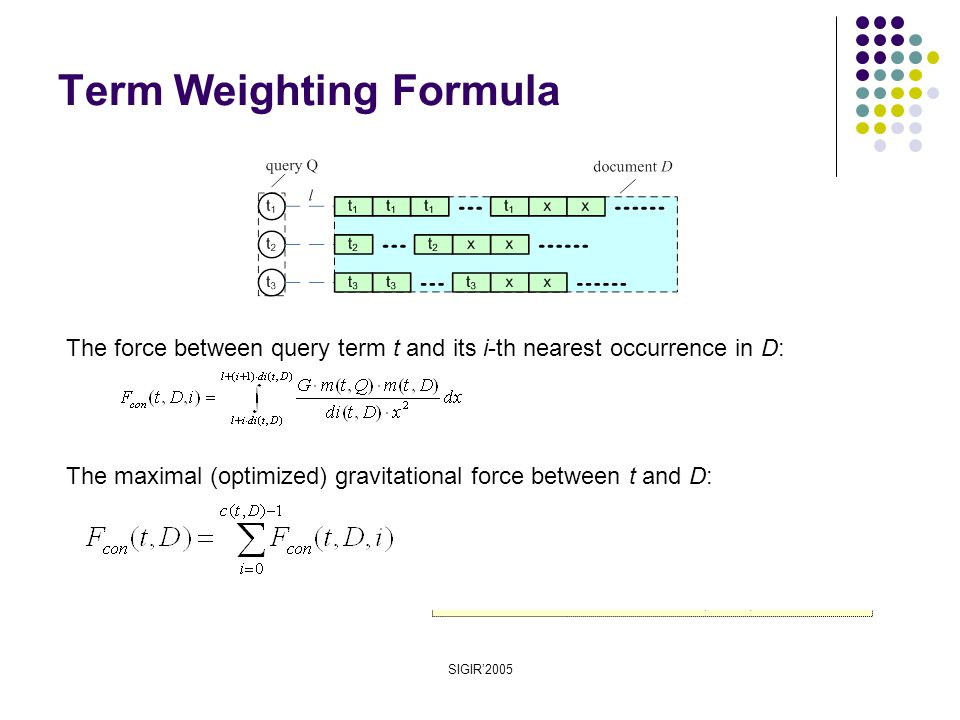 SIGIR'2005 Term Weighting Formula The maximal (optimized) gravitational force between t and D: The force between query term t and its i-th nearest occurrence in D:
