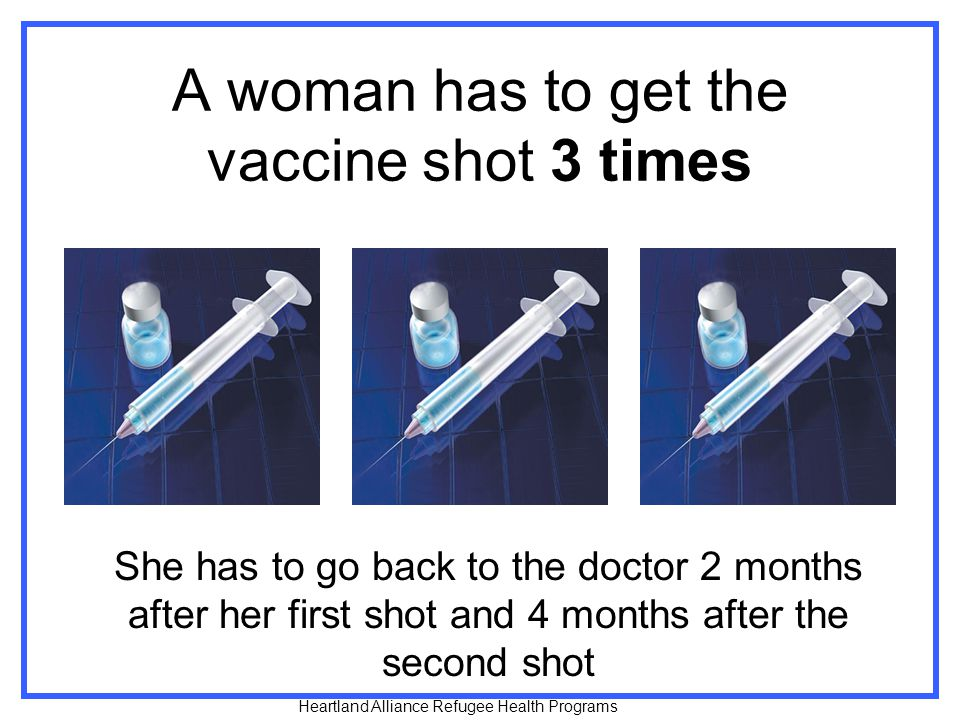 A woman has to get the vaccine shot 3 times She has to go back to the doctor 2 months after her first shot and 4 months after the second shot Heartland Alliance Refugee Health Programs